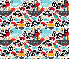 Pirate ship and parrot fabric by littlesmilemakers on Spoonflower - custom fabric