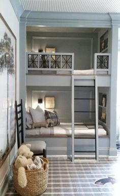 10 Design Trends that will Update Your Home - Lindsay Hill Interiors - Darling Steel Blue and Neutral children's room with pops of black and bunk beds - Bunk Bed Rooms, Kids Bunk Beds, Boys Bunk Bed Room Ideas, Build In Bunk Beds, Corner Bunk Beds, Childrens Bunk Beds, Childrens Rooms, Blue Bedroom, Trendy Bedroom