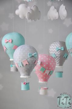personalized hot air balloon baby mobile pastel aqua pink etsy - Personalized Hot Air Balloon Baby M Baby Decor, Nursery Decor, Baby Crafts, Crafts For Kids, Baby Boy Shower, Baby Shower Gifts, Baby Mobile, Foto Baby, Balloon Decorations