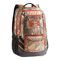 32475fee219d Under Armour Camo Hustle Backpack, Realtree Ap-Xtra/Dynamite, One Size