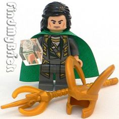 Lego Loki with Tesseract, Scepter, Helmet, AND hair. I WANT. Even got the cheekbones in there... *squee*