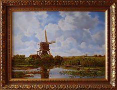 Holandia, Nad rzeką,  50cm x 70cm,  Obraz olejny na płótnie