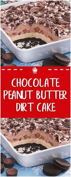 Chocolate Peanut Butter Dirt Cake – Home Family Recipes - Devil's food cake! Peanut Butter Desserts, Chocolate Desserts, Peanut Recipes, Peanut Butter Chocolate Cake, Peanut Butter Brownie Trifle Recipe, Apple Desserts, Health Desserts, Peanut Butter Sheet Cake, Chocolate Caramels