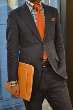 gray-brown suit + preppy-inspired check + orange tie = Re. Butch Fashion, Suit Fashion, Fall Fashion, Fashion Ideas, Sharp Dressed Man, Well Dressed Men, Mens Attire, Mens Suits, Business Attire