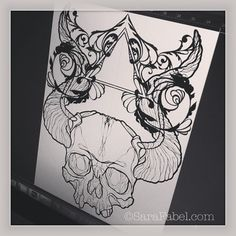 Illustration by Sara Fabel art Sara Fabel, Skull And Bones, Art Education, Blackwork, Tattoo Artists, Tatoos, How To Draw Hands, Ink, Canvas