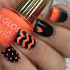 Orange And Black Chevron Dots Nail Art Design