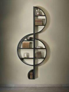 Best bookshelves designs 1 guitar shapes bookshelf 2 piano bookshelf 3 treble clef bookshelf .Creative Bookshelves Ideas for Music Lovers Interior design tip