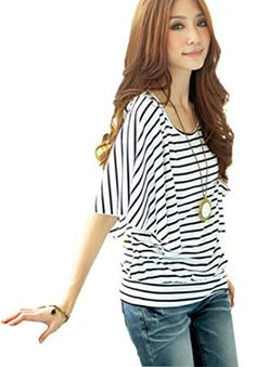 Women Summer Striped T-shirt Batwing Short Sleeve Loose Top Blouse Summer Shirts, Summer Tops, Summer Stripes, Loose Tops, Batwing Sleeve, Outfit Of The Day, Blouse, T Shirt, How To Wear