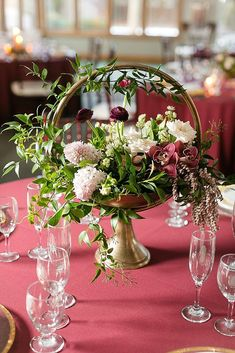 Elegant Marsala Wedding Featured On Midwest Bride Love this arrangement