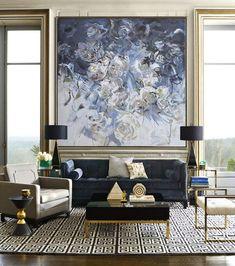 Original abstract flower oil painting from CZArtDesign.com. @CelineZiangArt, Moody flower painting, Modern abstract art, Blue flower oil painting, living room art