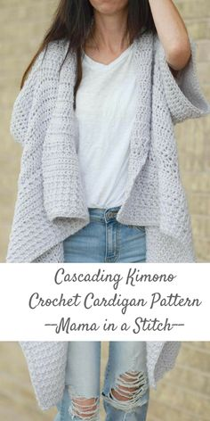 mama in a stitch is one of my favorite crochet pattern designers - this cascading kimono sweater pattern is to die for #crochetpatterns #crochetsweaterpattern #affiliate #crochetkimono