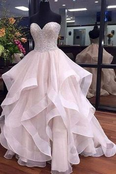 A-Line Sweetheart Floor-Length Ivory Organza Wedding Dress with Beading Ruffles-Tirdresses