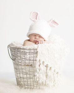Baby Bunny Hat for Easter photo prop Size XS by StrawberryRicRac, $24.00... great picture too! How cute is this?? <3