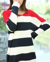 Red White Navy Striped Long Sleeve Pullovers Sweater - Sheinside.com
