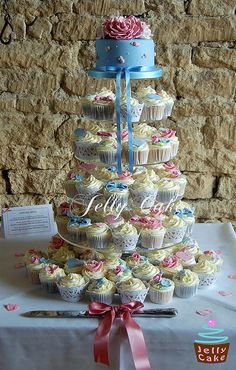 Cath Kidston Pink Roses Wedding Cupcake Tower by www.jellycake.co.uk, via Flickr