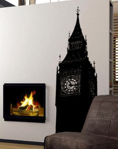 Stickerbrand Vinyl Wall Art Big Ben UK England London Wall Decal Sticker  Multiple Colors Available 72 x 22 6 ft Tall Easy to Apply  Removable >>> Visit the image link more details.