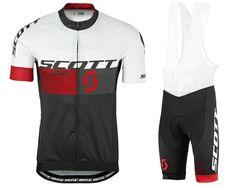 2016 Scott RC White-Black-Red Cycling Jersey And Bib Shorts Set