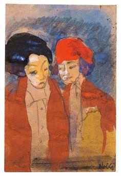 Emil Nolde (German, 1867-1956), Bildnis von zwei Frauen, c. 1940. Watercolor, opaque color, and pencil on paper, 13.7 x 9.1 cm.