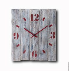 Купить Часы деревянные, красные цифры - белый, настенные часы, часы из дерева, часы