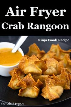 Air Fryer Crab Rangoon ~ Ninja Foodi Recipe ~ The Salted Pepper Skip the take-out! Make your own Air Fryer Crab Rangoon! Air Frier Recipes, Air Fryer Oven Recipes, Air Fryer Dinner Recipes, Air Fryer Recipes Appetizers, Empanadas, Cooking Recipes, Healthy Recipes, Cooking Tips, Cooking Food