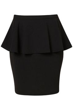 Black Textured Peplum Skirt