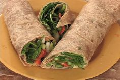 Spinach Asparagus Wrap with Hummus and Scallions ~a tasty meal in minutes!