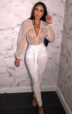 Make a statement this season in the White Polka Dot Mesh Plunge Bodysuit. Featuring a white bodysuit in a mesh material with a polka dot design, this amaze bodysuit is gorj' teamed with perspex heels and a denim skirt for an instant outfit upgrade! Sheer Long Sleeve Bodysuit, White Bodysuit, Bodysuit Tops, Looks Pinterest, Plunge Bodysuit, Girl Fashion, Womens Fashion, Mode Style, Hottest Models