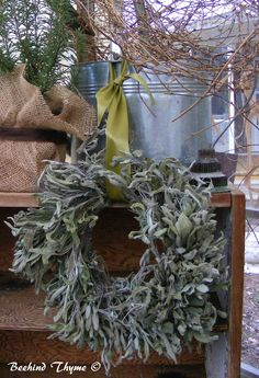 Dried, Sage Wreaths are made in... The Potting Shed here at the farm!