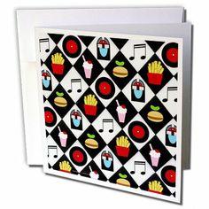 gc_107288_2 Lee Hiller Designs Malt Shop - Malt Shop Black white tile with Jukebox 45s Soda Hamburger Fries - Greeting Cards-12 Greeting Cards  by Lee Hiller #Photography and Designs