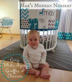 Max's Modern Nursery Tour: gray, white, aqua, giraffes and chevron patterns. LOVE this nursery!
