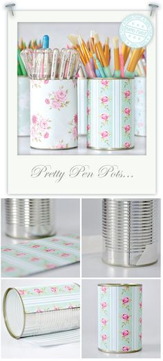 -Empty tin can - Tilda flower garden & Winter Bird -Printed 230 gsm paper -Double sided sticky tape - and Scissors http://toriejayne.blogspot.com/2012/02/pretty-pen-pots.html
