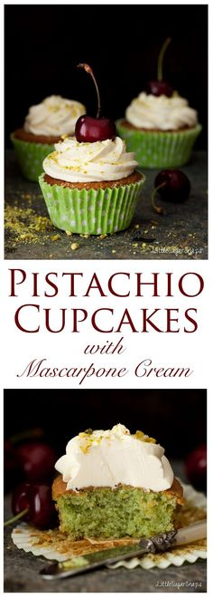 Pistachio Cupcakes: Bright and cheerful, with a light, sweet, nutty crumb. These Cupcakes come adorned with a rich & creamy, only just sweet topping. The fanciest of cupcakes is yours for the taking.