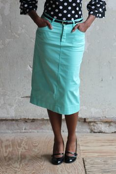 JM Colored Denim Skirt - Jade Mackenzie Modest Apparel