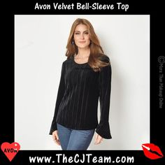 #Avon Bell Sleeve Top. The ultimate party shirt for a sophisticated holiday soiree. Pullover stretch velvet, full length bell sleeves, textured and boat neck. Available in S-3X. NEW! Regularly $27.99. #CJTeam #Avon #Style #Sale #Fashion #New #C24 #Top #bellsleevetop #Blouse #SignatureCollection #Textured #Avon4me FREE shipping with any $40 online Avon purchase. Shop Avon fashion online @ www.TheCJTeam.com