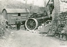A Steam roller after it has crashed into Conway's Cottage, Padleigh Bottom in Englishcombe March 1909 Vintage Cars, Antique Cars, Steam Tractor, Old Wagons, Old Technology, Old Tractors, Rolling Stock, Things Happen, Old Farm
