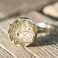 Dainty Golden Flower Vintage Button Ring by AmandaKLockrowJewels, $79.00