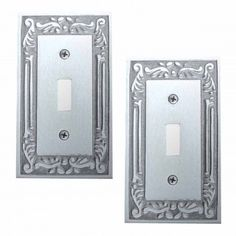 2 Switch Plates Chrome-plated Brass Victorian Style Set of 2
