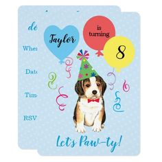 Birthday Party Balloons Beagle Invitation  beagle humor, puppy diy projects, australian shepherd puppy training #beaglepuppy #beagleworld #catsofinstagram, back to school, aesthetic wallpaper, y2k fashion