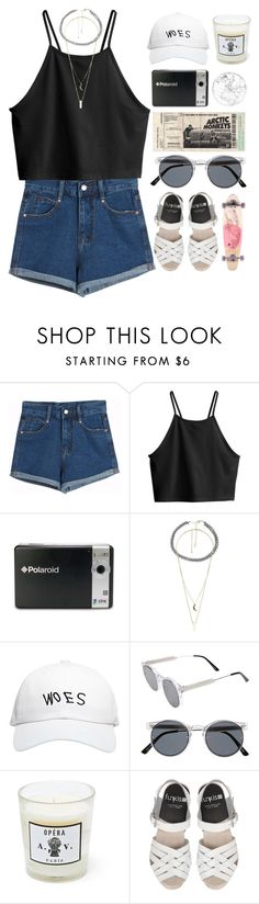 """Polaroid/ read if u wanna"" by blood-under-the-skin ❤ liked on Polyvore featuring Chicnova Fashion, H&M, Polaroid, Charlotte Russe, October's Very Own, Spitfire, Astier de Villatte, Roxy, women's clothing and women"