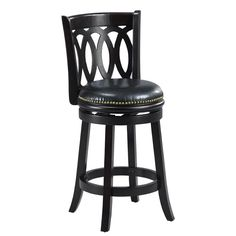 $88 bicast leather Mintra Black Finish Spiral Back 24-Inch Swivel Counter Stool
