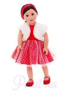 Bonnie & Pearl Christmas Party Outfit - Petalina. A perfect dolls clothes set for Christmas Day. I imagine there will be many dolls being eagerly dressed once this particular gift has been opened. The red dress is sleeveless with a satin sash and net over layer covered in polka dots. The little fur waistcoat will keep away the chills and the red shoes and hairband are perfect finishing touches. Mustn't forget the matching red pants either!