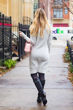 h&m chunky sweater dress outfit tights outfit winter outfit winter work outfit