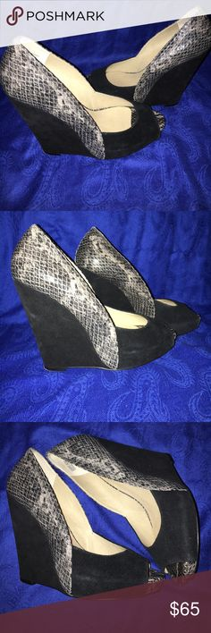 Snake Print wedged Heeled Sandals with blk suede Black/Grey with Snake Print wedged Heeled Sandals by levity levity Shoes Sandals