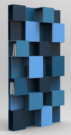 PIXL bookshelf by Roche Bobois - design Fabrice Berrux. Superbe idée de deco de mur et cacher les livres