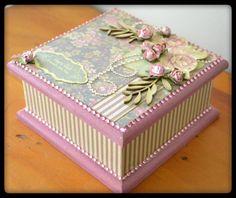 "The Rusty Horseshoe: ""Magnolia Grove"" Trinket box ( Design Team project. Bead Crafts, Fun Crafts, Decopage, Box Design, Trinket Boxes, Homemade Gifts, Magnolia, Decorative Boxes, Crafty"