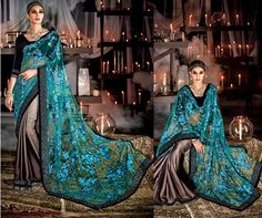 Elite Bridal Sarees under @ Sheena Fashions. Grey Saree, Blue Saree, Indian Blouse, Indian Wear, Elite Bridal, Modern Saree, Lehenga Saree, Anarkali, Indian Bridal Lehenga
