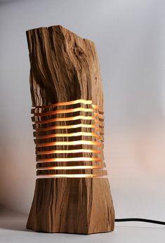 designer lampen leuchten design naturholz brennholz