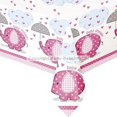 Pink Umbrella Elephants Baby Shower Table Cover