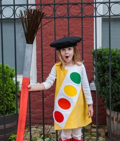 Art Fancy Dress Costume for Parties & Halloween:: Artist Watercolor Paint Box with Giant Paint Brush and Free Kids French Beret Sewing Pattern Handmade Halloween Costumes, Halloween Shirts Kids, Halloween Kostüm, Halloween Outfits, Diy Costumes, Costume Ideas, Pop Star Costumes, French Kids, Mickey Mouse Clubhouse Birthday