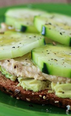 Cucumber Hummus Avocado Toast, lo pro bread and zuchinni hummus